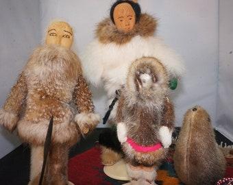Vintage Inuit Folk Art Lot Sale / Collectable Alaskan Eskimo early 70s Hand Made Dolls