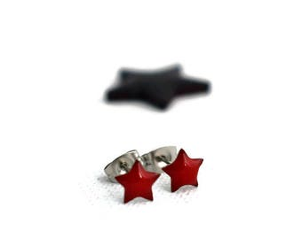 Red Star Studs, Star Earrings, Star Post Earrings, Teen Earrings, Emo Earrings, Small Red Studs, Helix Piercing, Surgical Steel Studs