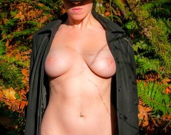 MATURE outdoor nude in nature forest in the Fall fashion nude art fine art color photo print wall art - Il Calore dell'Autunno 06