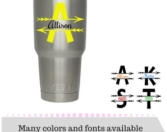 Arrow Monogram Decal - Monogram Decal - Vinyl Decal - Custom Name Decal - Laptop Decal - Yeti Decal OR Iron-on - DIY Iron-on Transfer