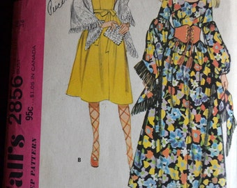 Vintage Sewing Pattern McCall's 2856 Misses' Dress and Shawl  Bust 36 inches