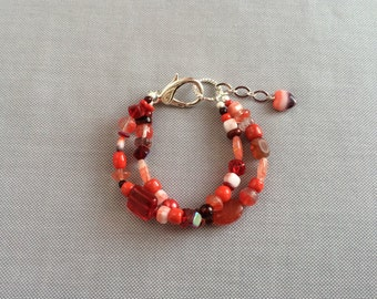 Red multi layer bracelet, glass bead multi strand bracelet. Red beads, Czech glass bracelet, silver fancy lobster clasp. Red bracelet silver