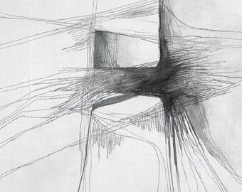 Pom Pom - abstract drawing of sea stack - graphites on plywood