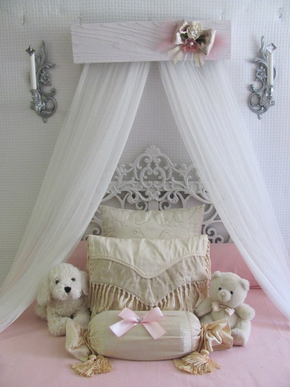 Crown Canopy Crib Baby Nursery Decor Shabby Chic Princess Bed