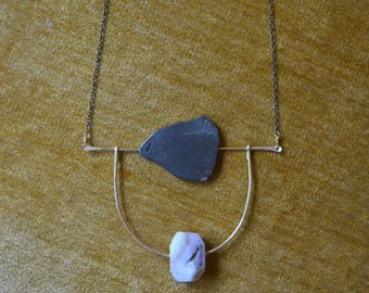 Opal Pyrite Brass Necklace / Arched Brass Orbit Necklace