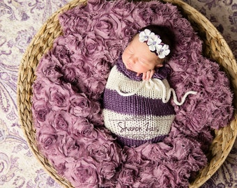 Purple and Cream Swaddle Sack Newborn Baby Photography Prop