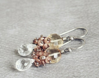 Sepia Earrings - white TOPAZ, ANDALUSITE, champagne QUARTZ wire wrapped earrings