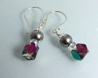 Swarovski Pearl and Crystal Earrings, Gray Pearl and Crystal, Mother of the Bride Earrings