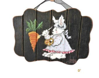Easter Bunny Artist Painting A Carrot | Tole Painted Bunny Easter Decoration