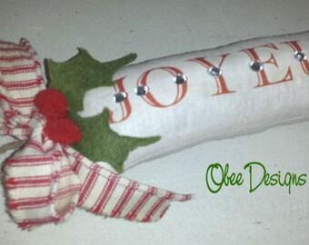 SALE Orig 15.00 French Cream Linen JOYEUX NOEL Sachet Crystal Embellished, Red Cream Ticking Bow and Felt Holly Leaves Twine Loop Hanger
