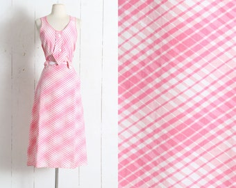 Vintage 1930s Dress | vintage 30s pink white plaid cotton sun dress | criss cross back | tie belt | summer day casual | small sm