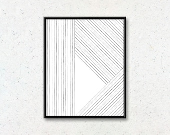Stripes print - Geometric triangle art   Cozy wall art for Bedroom, Office    Interior decoration