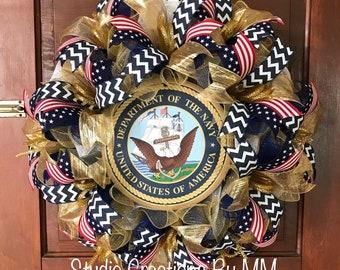 Navy Wreath, US Navy, Military Wreath, Veteran Wreath, Semper Fortis, United States Navy, Military, Memorial Day, Veteran's Day, Navy
