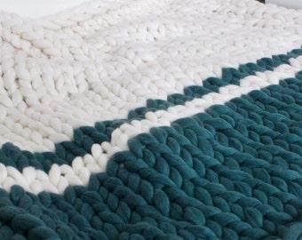 Merino wool blanket - Chunky knit throw - Giant knit blanket - Merino wool - Wool blanket - Double size blanket - Bettläufer - Saint wools