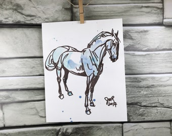 Horse art original ink & watercolor sketch - Hunter in Brown and Blue
