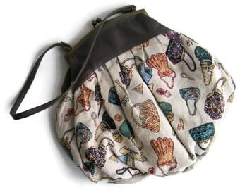 Vintage carpet bag Tapestry Brown Beige printed bag Kilim bag Tapestry Novelty Shoulder bag Retro woven purse handbag
