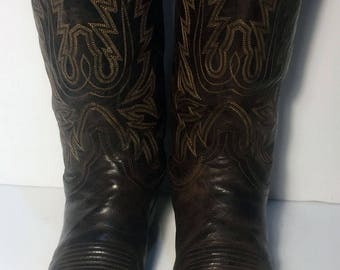 LUCCHESE Brown Leather Cowboy Western Boots Men's Size 10.5 D