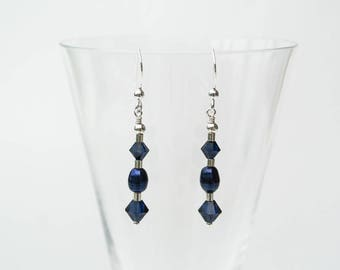 Art Deco Silver and Blue Earrings - Midnight Blue Pearl and Indigo Blue Swarovski Crystal Drop Earrings in Sterling Silver