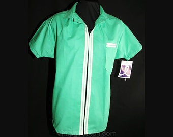 Size 14 New Wave 1980s Jadite Shirt Jacket - 80s Does 50s Casual Green Short Sleeved Top - Summer - Deadstock - NWT - Bust 40 - 30798-1