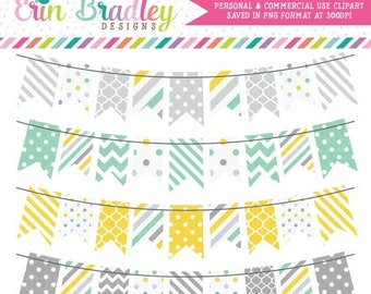 80% OFF SALE Yellow Aqua & Gray Bunting Banner Flag Clipart Digital Clip Art Graphics Personal and Commercial Use Instant Download