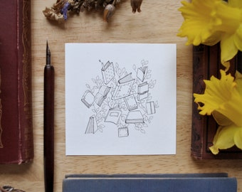 Books with Simple Leaves - Pen & Ink Drawing