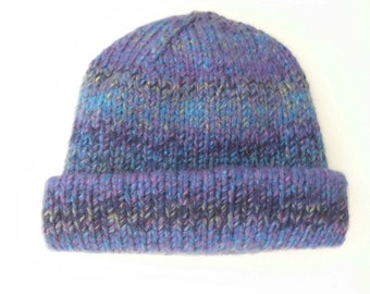 Winter hat double layered hand knit .Women M size. Acrylic yarn variegated Blue-based Purple is the favorite 2018 color. Ready to ship