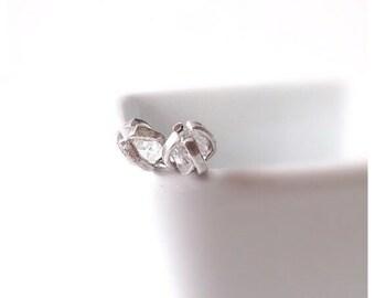 White Diamond Stud Earrings, Dainty Earrings, Diamond Stud Earrings, Herkimer Sterling Silver Earrings