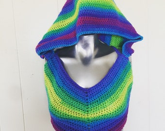Hooded Neon Rainbow Crop Top