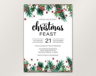Christmas Invitation, Christmas Party Invitation, Rustic Berry Christmas Invitation, Holiday Invitation, Christmas Dinner, Printable Files