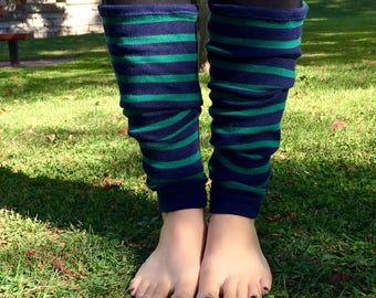 Navy Striped Leg Warmers - Navy Leg Warmers - Green Striped Leg Warmers - Green Leg Warmers - Striped Leg Warmers - Yoga Leg Warmers