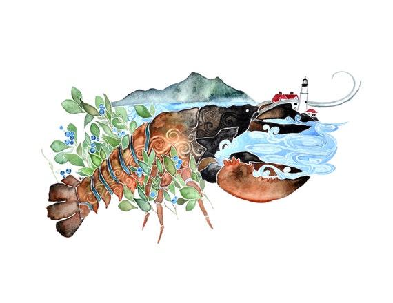 Maine -giclee PRINT  of original watercolor