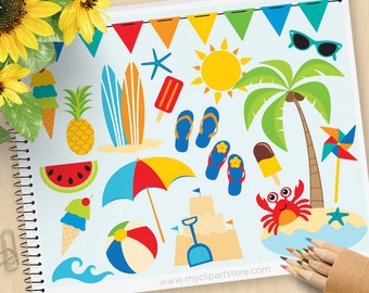 A Day At The Beach Clipart, summer clip art, surfing, surfboards, umbrella, beach ball, Commercial Use, Vector clip art, SVG Files