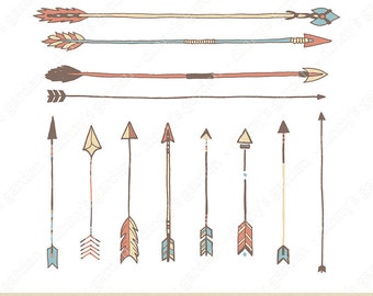 TRIBAL ARROWS,  Digital Embellishments Clip Art | hand drawn brown blue pink cream tribal