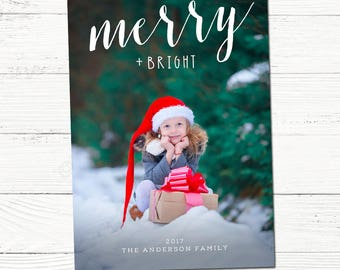 Christmas Card with Photo /  Printable Modern Holiday Photo Card / Merry and Bright