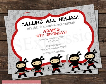 Ninjas Karate Birthday Party Invitation