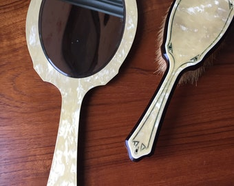 Vintage Celluloid vanity set, brush and mirror 1940's