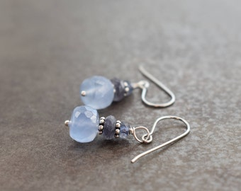 Iolite and Periwinkle Chalcedony Earrings, Chalcedony Earrings, Iolite Earrings, Periwinkle Earrings, Iolite Jewelry, Chalcedony Jewelry