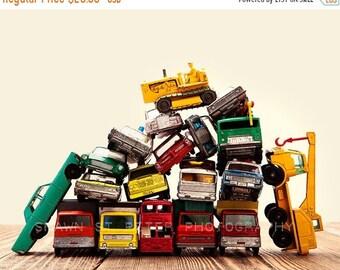 FLASH SALE til MIDNIGHT Vintage Matchbox Cars and Trucks Pile With Dozer, Photo Print, Boys Room decor, Boys Nursery Prints