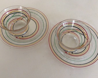 Vintage striped dessert plates, quanity of 2 each