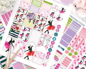 Ballerinas Planner Stickers Printable, Ballet Weekly HAPPY PLANNER,Weekly View Kit,Printable Sampler, Happy planner kit,Instant download