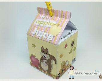 "PRINTABLE MILK Carton ""Apple Juice"" DIY, gift idea, placeholders, favor box, treat box, gift box for party"