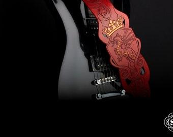 Leather guitar strap, dragon guitar, dragon strap, guitar strap, acoustic guitar, electric guitar, handmade guitar, music, custom guitar