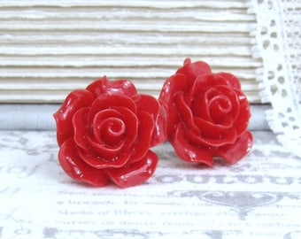 Large Red Rose Studs Red Flower Earrings Valentines Gift Red Rose Earrings Surgical Steel Studs Red Rose Jewelry