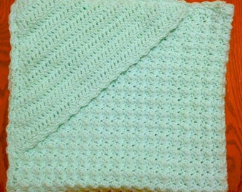 Crocheted Hooded Baby Blanket