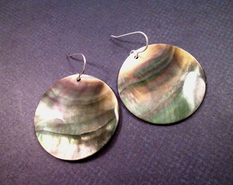 Mother of Pearl Shell Earrings, Disc Earrings, Sterling Silver Dangle Earrings, FREE Shipping U.S.
