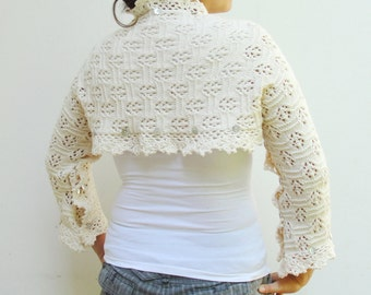 Bridal Bolero Shawl White Knitted Wedding Shawl Natural Cotton Luxurious Accessory