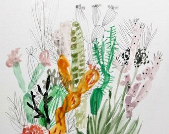 Sunburst Succulent - Mixed media abstracti cacti- 11x15