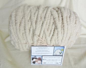 125 Yards - All Natural - No Dyes - 100% Alpaca Bulky Rug Yarn - Creamy White