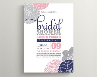 Printable Bridal Shower Invitation \\ Floral Design \\ Navy, Pink and Grey Invitation (BR104)