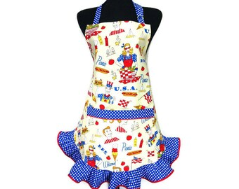 """4th of July Apron for women , Yellow with blue retro style ruffle """"Patriotic Picnic"""" / Hot Dogs / Hamburgers / Aprons for women"""